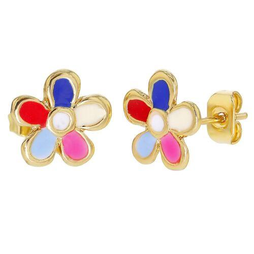 18k Gold Plated Flower Multi Color Enamel Girls Earrings Stud 10mm
