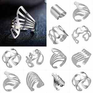 Fashion-Love-Heat-Knuckle-Ring-Men-Women-Gold-Silver-Open-Cuff-Ring-Band-Jewelry