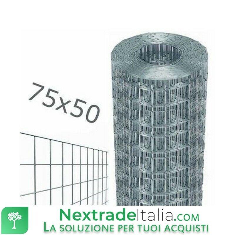 1PZ Rete per recinzione rotolo 25mt zincata filo Ø 1,7 H 175 maglia 75x50 mm