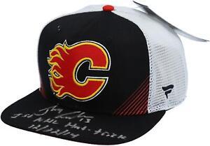 Johnny Gaudreau Flames Signed Black Cap & 1st NHL Hat Trick 12/22/14 Insc - LE14