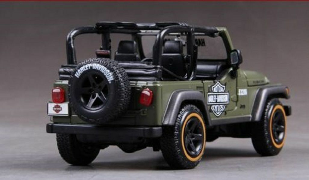 Maisto 1 24 Jeep Wrangler RUBICON Harley Davidson Diecast Diecast Diecast Model Car Green Boxed 1c9c22