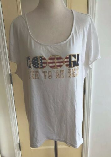 COOGI Women Free To Be Sexy T Shirt Flag Red White