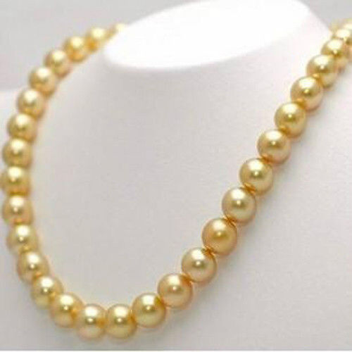 """Long 24/"""" 10 mm South Golden Sea Shell Pearl PERLES rondes Collier AAA GRADE"""