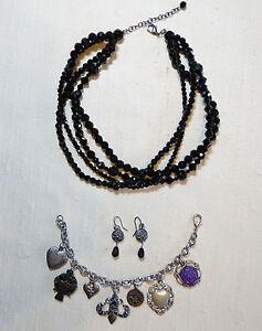 Jewely-Lot-Black-Glass-Bead-Choker-Fleur-De-Lis-Charm-Bracelet-Silver-Earrings