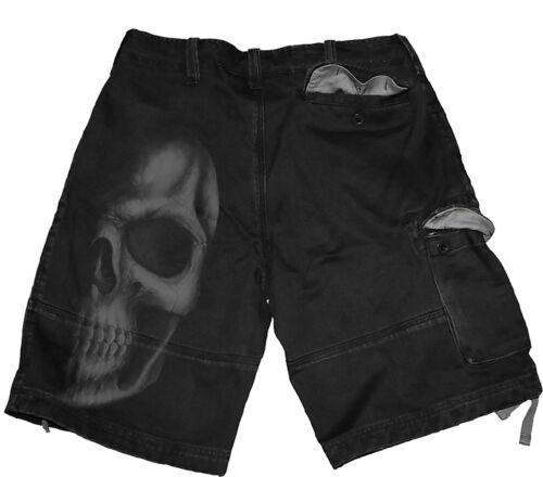 //Gothique//Cadeau//Darkwear Spiral Direct Ombre Crâne Vintage Cargo Short Noir