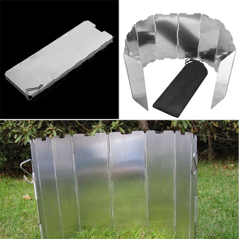 Foldable 10 Plates Cooker BBQ Gas Stove Wind Shield Screen Screen Screen Picnic Outdoor baGH 797c3e