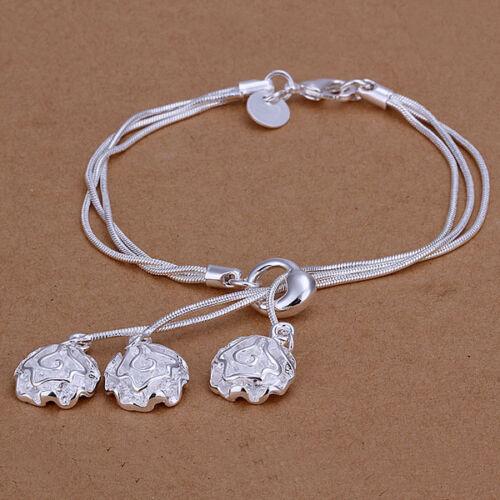 Señora pulsera serpientes cadena flores joyas señora PL con Sterling plata da291