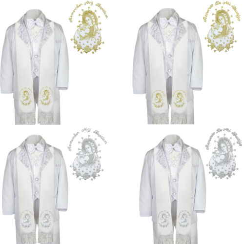 6pc Baptism White Tuxedo English Spanish Plain Silver Gold Pope Mary Maria Stole