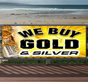 WE BUY GOLD AND SILVER Advertising Vinyl Banner Flag Sign