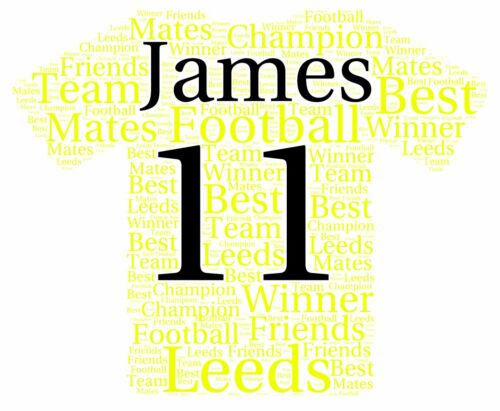 Personalised LUFC Football Shirt Word Art Print Ideal Birthday or Christmas Gift