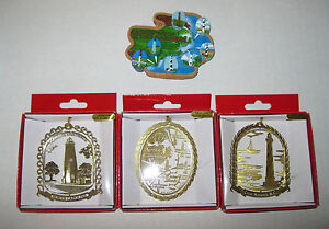 4 Lighthouses of North Carolina Ocracoke Hatteras Souvenir Gift Ornament Magnet