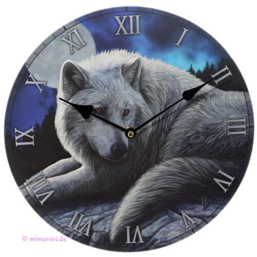 weißer Wolf Wächter des Nordens bei Vollmond Nacht Wanduhr Bilderuhr Uhr Deko