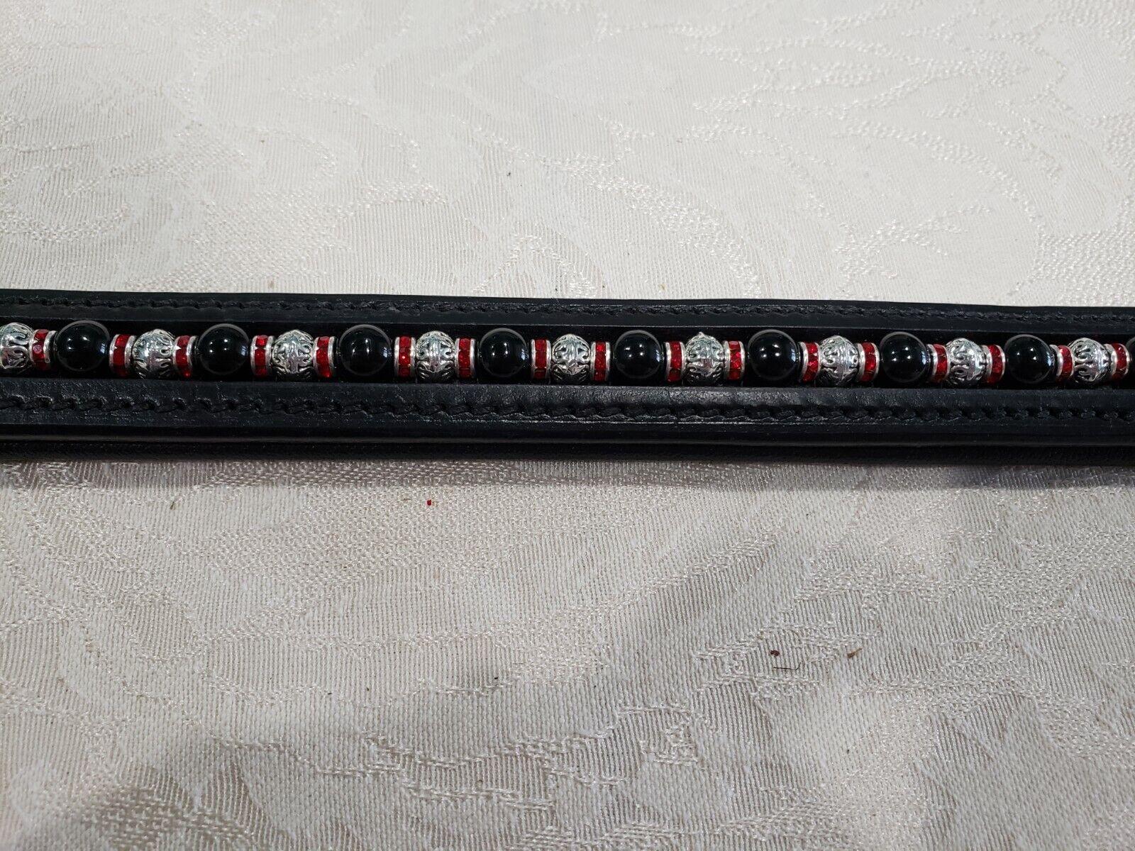 15  (COB) Negro frontalera con Negro y y y granos del Metal y Rojo rondells 4d4997