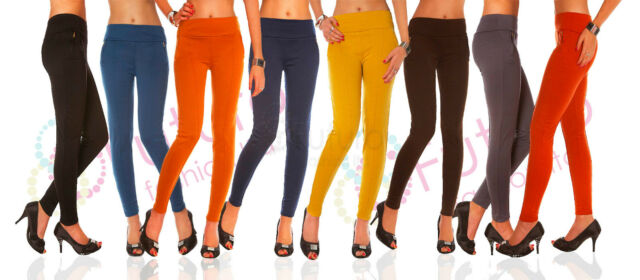 Mid Waist Chino Trousers With Zips Stretch Pants Leggings Sizes 8 10 14 FS02