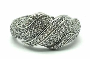 Sterling-Silver-925-Cubic-Zirconia-Cluster-Dome-Swirl-Cocktail-Band-Ring-Sz-7