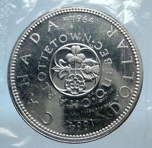 1964-CANADA-Quebec-Charlottetown-Commemorative-BIG-SILVER-Dollar-Coin-i74021
