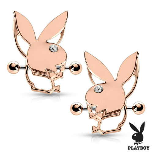 Pair of Playboy Bunny Double Tier Nipple Piercing Shields Rings With CZ Eyes