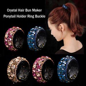 Crystal-Hair-Bun-Maker-Ponytail-Holder-Ring-HairHolder-Buckle-Mini-Claw-HairClip
