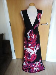 Ladies-MONSOON-DRESS-Size-14-Black-Pink-Floral-Long-Maxi-Stretch-Party-Evening