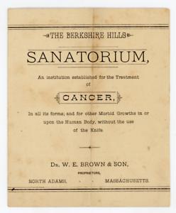 1800's Berkshire Hills Sanatorium ad brochure/pamphlet,North Adams MA,cancer