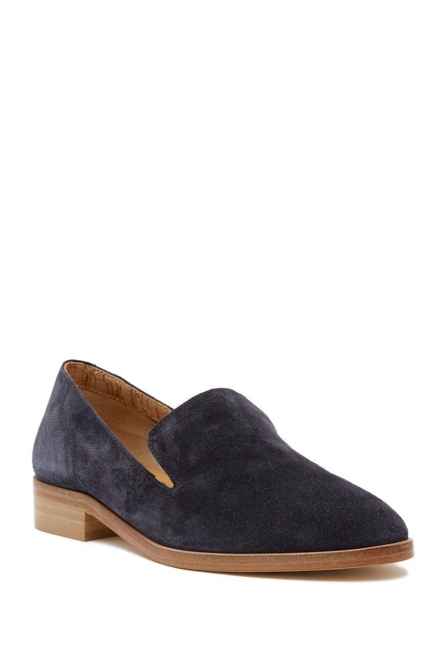 ALBERTO  FERMANI CALISTA SUEDE ALMOND TOE LOAFER - SPACE blu 7.5  prezzi equi