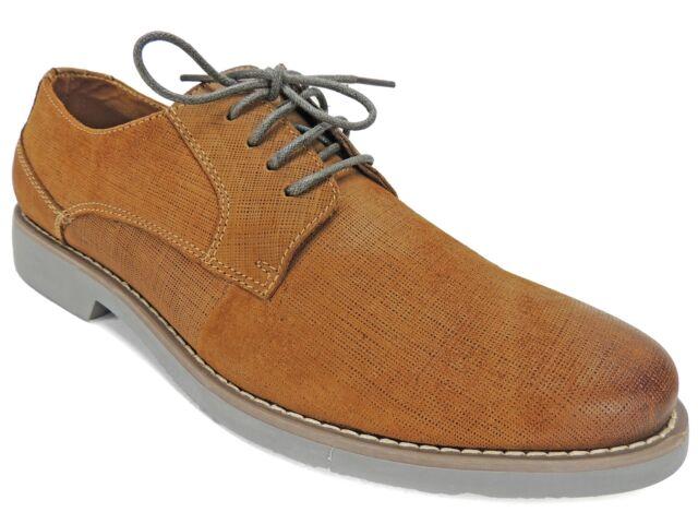 e9d5865ef7b Steve Madden Men's Trill Burnished Plain Toe Oxfords Tan Leather Size 8.5 M