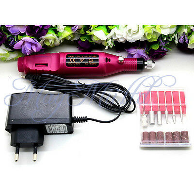 Hot Pen Shape Electric Nail Drill Set File Bit Acrylic Manicure Pedicure H