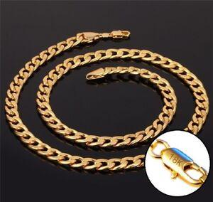 18k-Yellow-Gold-Necklace-Women-039-s-Men-039-s-Cuban-Curb-Link-Chain-Gift-Pkg-D293