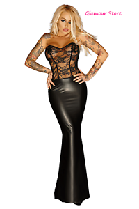 longue sexy Robe Wetlook Fashion Push Glamour Up en Lace noire dentelle brillante dfn6xwBSn