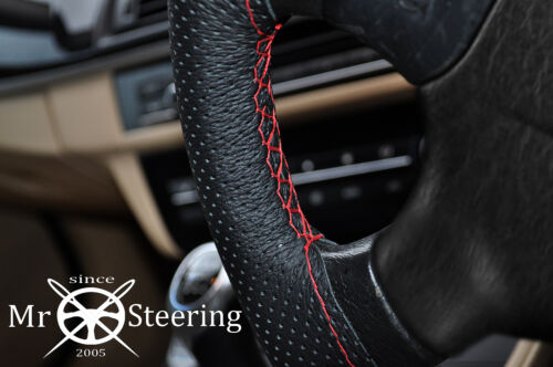 PERFORATED LEATHER STEERING WHEEL COVER RED DOUBLE ST FOR PEUGEOT EXPERT MK2 07
