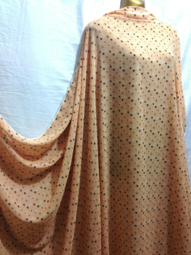 "*NEW*Light Orange Chiffon Black//White Stars Print  Fabric 60/"" Wide**FREE P/&P**"
