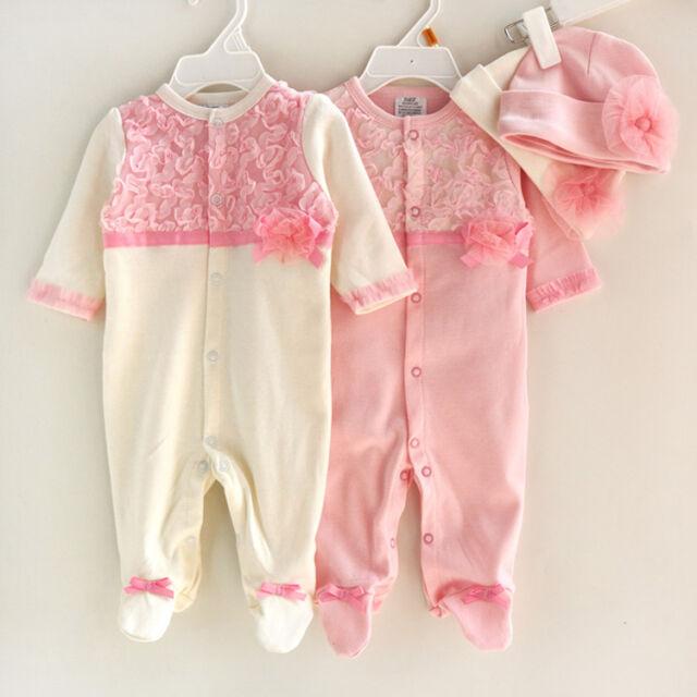 Girl Baby Infant Newborn Flower Cap Hat+Romper Bodysuit Jumpsuit Clothing Set