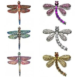 Silver-Gold-Vintage-Antique-Dragonfly-Brooch-Pin-Insect-Crystal-Diamante-Gift-UK