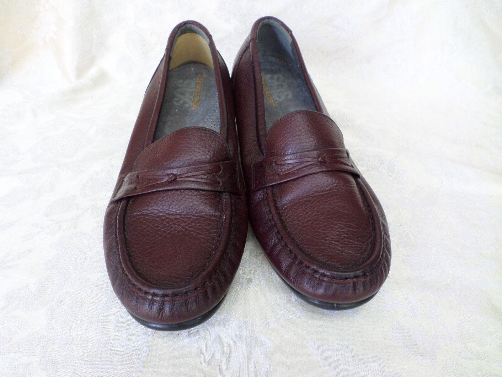 SAS Dark Brown Leather Penny Loafer Low Wedge Heel 10.5 WIDE