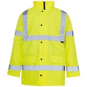 Hi Vis Visibility 2 Two Tone Parka Jacket Waterproof Coat Work Wear Viz Safety