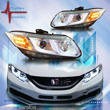 2012-2015 WINJET Honda Civic 4Dr Sedan LED DRL Bar Projector Headlights Chrome