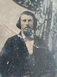 Antique Photo Tin Type Vtg 1800s Portrait Confederate Cowboy Young Pickett? Rare