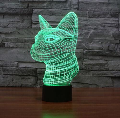 Cat 3D Acrylic LED 7 Colour Night Light Touch Sensor Table Desk Lamp Gift