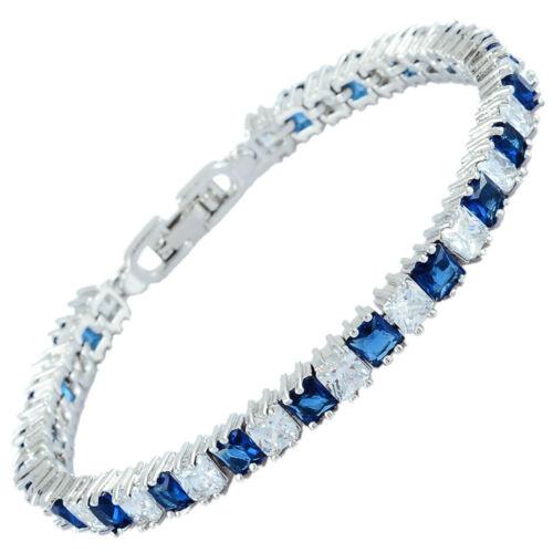 Brass Saphir Bleu Zircone Cubique Square Cut 18K Blanc Plaqué Or Tennis Bracelet