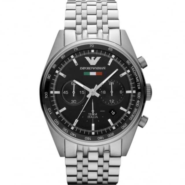 NEW EMPORIO ARMANI AR5983 TAZIO BLACK DIAL STRAP CHRONO WATCH - 2 Y. WARRANTY