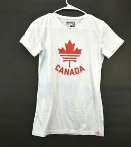 3-Stripes-Adidas-Women-039-s-M-Short-Sleeve-V-Neck-Ultimate-Tee-Canada-Print-White