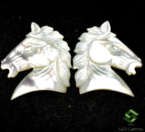 Natural Mother Of Pearl Handmade Carving 23x23 mm Horse Shape Carved Gemstones