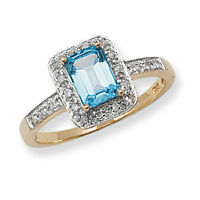 Blue Topaz Ring Diamond Ring Engagement Ring Topaz & Diamond Gold Ring Size R-z