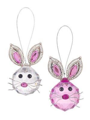 Ganz E9 Home Decor Crystal Acrylic Bunny 2.5in Ornament 2pc Set ACRYE-30