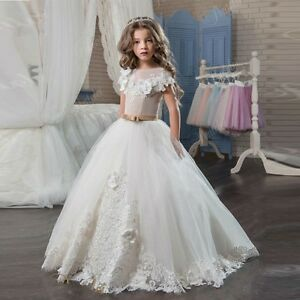 e2e5edcf7 Pageant Princess Gowns for Kids Flower Girl Dress Lace Wedding Party ...