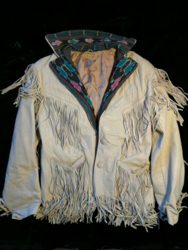 Miller Western Wear Leather Fringe Jacket Cream Wh