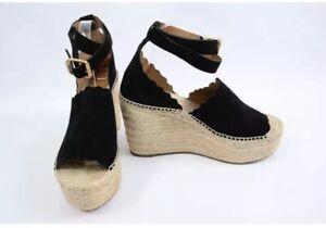 9f5f9d7b563 Details about Chloé Lauren Black 11 suede espadrille platform ankle strap  sandal shoe NEW $660