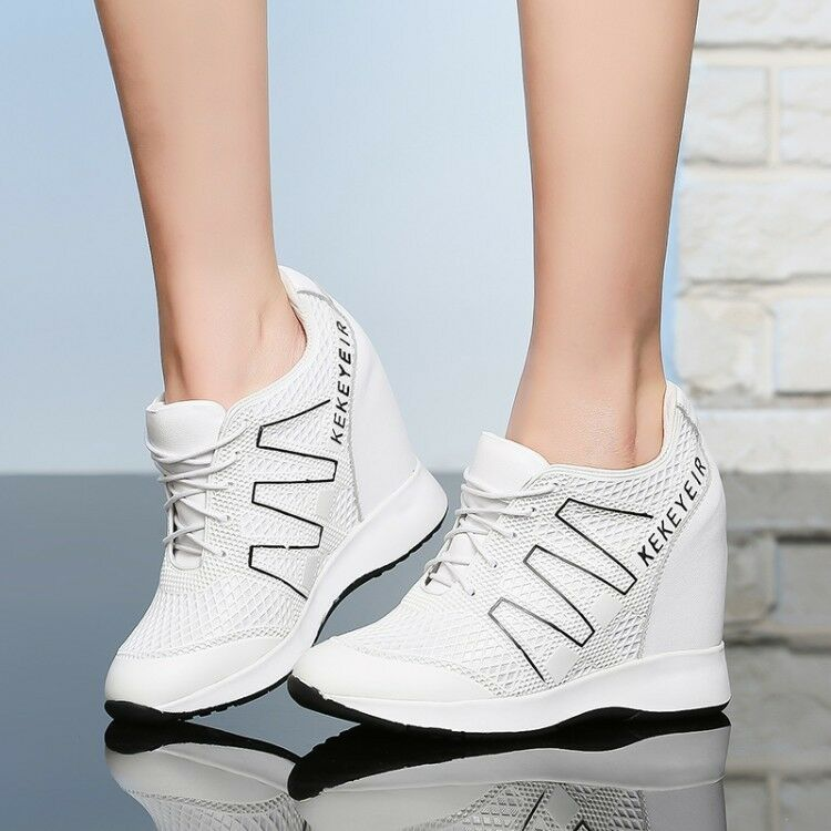 Femme Wedge Heel Lace up Real Leather Athletic Chaussures Sneakers Hidden Heel Ths01