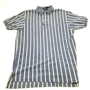 VINTAGE Ralph Lauren Polo Shirt Size Large Blue Ringer Short Sleeve Mens USA 90s