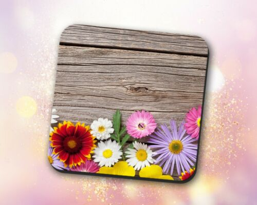 Flower Coaster • Assorted Colorful Flowers Wood Gift Decor Desk Accessory